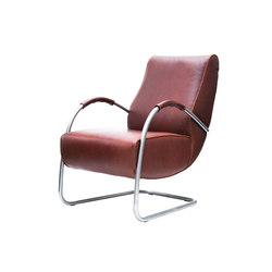 Howard brushed stainless steel fauteuil low back with leather armrest | Sillones | Jess
