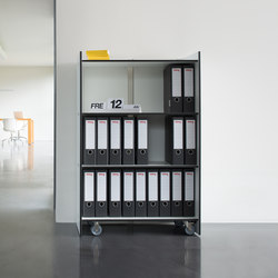 Rotondo shelf 80 x 125  with rolls | Shelving systems | Conmoto