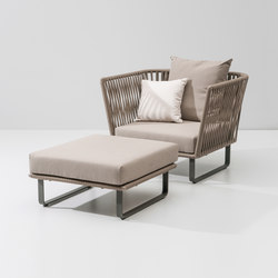 Bitta club armchair with stool | Garden armchairs | KETTAL