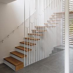 Up suspended staircase double safety suspension | Wood stairs | Jo-a