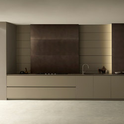 Blade 2 linear, lacquered and metal arrangement | Fitted kitchens | Modulnova