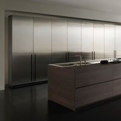 Fly 2 island in Noce Ossidato and steel | Fitted kitchens | Modulnova