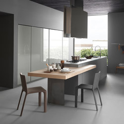 light 2 island in glass with extending peninsula top cocinas integrales modulnova - Cocinas Con Isla