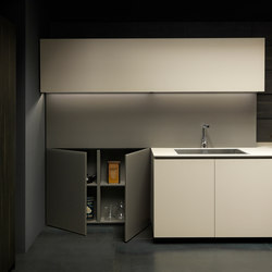 Mh6 1 linear kitchen in Beige melamine | Fitted kitchens | Modulnova