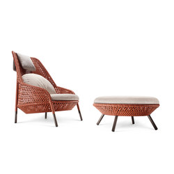 Ahnda Wing chair & Footstool | Garden armchairs | DEDON