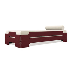 Stacking bed lacquered in standard colours RAL3009 | Single beds | Müller Möbelwerkstätten