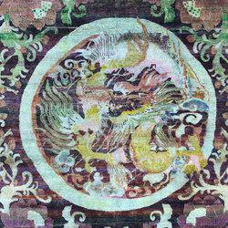 Kundan Pure Silk Confronted Dragons Medallion | Formatteppiche / Designerteppiche | Zollanvari