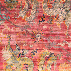 Kundan Pure Silk Confronted Dragons with Peonies | Tappeti / Tappeti d'autore | Zollanvari