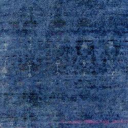 Kundan Pure Silk Midnight Blue Abrash Flowerfield | Formatteppiche / Designerteppiche | Zollanvari