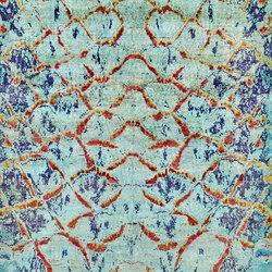 Kundan Pure Silk Iridescence Water Snake | Formatteppiche / Designerteppiche | Zollanvari