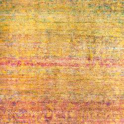 Kundan Pure Silk Goldensun Abrash Flower Field | Formatteppiche / Designerteppiche | Zollanvari