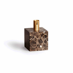 Block Candle Holder Dark Brown Marble w. Brass | Portacandele | NEW WORKS