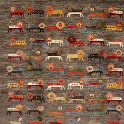 Gabbehs Flora & Fauna Lions & Elks | Tappeti / Tappeti d'autore | Zollanvari