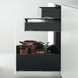 Elementos Bajos Equipados | Elemento bajo extraíble cajones comunes y cajones grandes | Organización cocina | Arclinea
