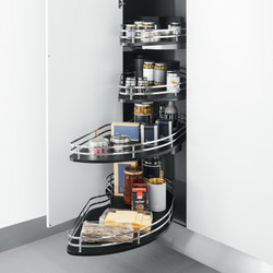 Tall Units | Corner base unit with shaped baskets | Kitchen organization | Arclinea