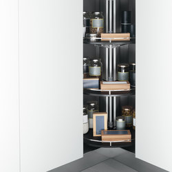 Tall Units | Corner tall storage unit 90x90 cm with carousel 360° | Kitchen organization | Arclinea