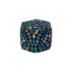 Triangles Pouf Diamond medallion blue-green high | Poufs | GOLRAN 1898