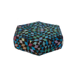 Triangles Pouf Diamond medallion blue-green low | Poufs | GOLRAN 1898