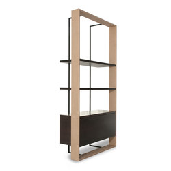 BOURGEOIS Bookcase with drawer | Library shelving | Baxter