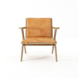 Tribute EASY CHAIR with LEATHER Tan Cognac | Sillones | Karpenter