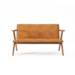 Tribute SOFA 2 SEATERS with LEATHER Tan Cognac | Sofas | Karpenter
