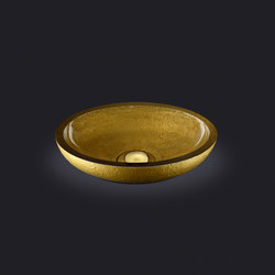 Dolce Oval Washbasin with Gold External Texture | Wash basins | Vallvé