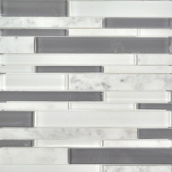 Stagger | Fusion Stagger Carrara Mosaic | Glas Mosaike | AKDO