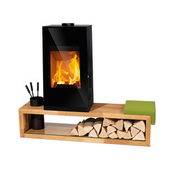 Look | black + wooden bench + cushion with green cover | Wood burning stoves | Rika