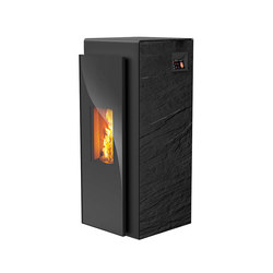 Kapo | with décor side panel slate black / body black | Pellet burning stoves | Rika