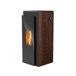 Kapo | with décor side panel rust effect / body black | Pellet burning stoves | Rika