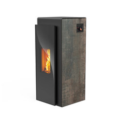 Kapo | with décor side panel rust effect metallic / body black | Pellet burning stoves | Rika