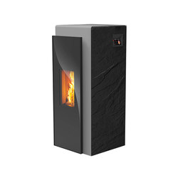 Kapo | with décor side panel slate black / body silver | Pellet burning stoves | Rika