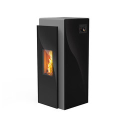 Kapo | with glass black / body silver | Stoves | Rika