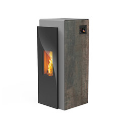 Kapo | with décor side panel rust effect metallic / body silver | Pellet burning stoves | Rika