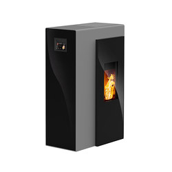 Miro | with glass black / body silver | Pellet burning stoves | Rika