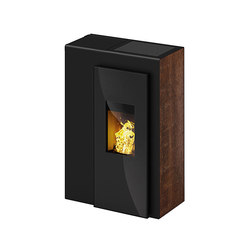Miro | with décor side panel rust effect / body black | Pellet burning stoves | Rika