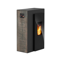 Miro | with décor side panel rust effect metallic / body black | Pellet burning stoves | Rika