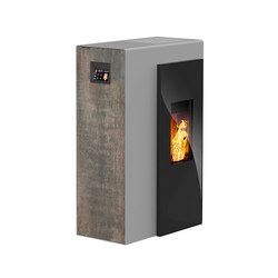 Miro | with décor side panel rust effect metallic / body silver | Estufas de pellet | Rika
