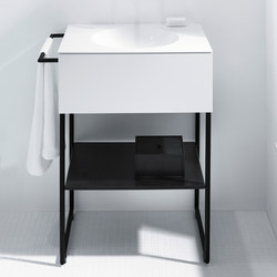 Coco | Mineral cast washbasin incl. vanity unit and metal legs | Mobili lavabo | burgbad