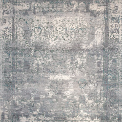 Elements aztec transitional grey turquoise | Formatteppiche | THIBAULT VAN RENNE