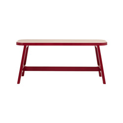 Mini Bench Three - Beech / Wellington Red | Waiting area benches | Another Country
