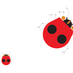 Designtex + Charley Harper - The Big Ladybug | Tissus muraux | Designtex
