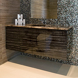 Luxury decorative surface for bathroom cabinets - Kinon® Pattern 401 in black | Laminate | Kinon® Surface Design