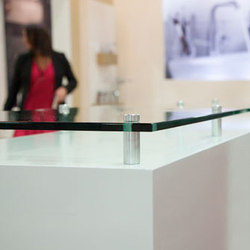 Glass Panel Riser Counter Top | Glass shelf brackets | Gyford StandOff Systems®