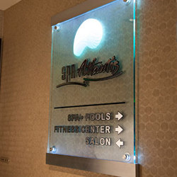 LED Standoffs with Deep Etched Glass   Sign holders   Gyford StandOff Systems®