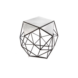 Archimedes Large Side Table in Steel w| Marble Inlay | Tables d'appoint | Matthew Shively