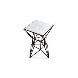 Archimedes Small Side Table in Steel w| Marble Inlay | Tavolini di servizio | Matthew Shively