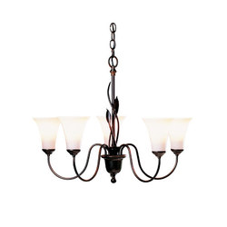 Forged Leaves 5 Arm Chandelier | Ceiling suspended chandeliers | Hubbardton Forge
