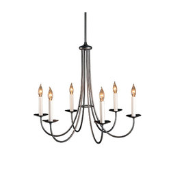 Simple Lines 6 Arm Chandelier | Ceiling suspended chandeliers | Hubbardton Forge
