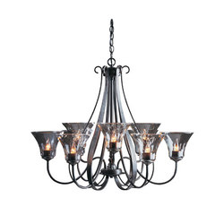 Sweeping Taper 9 Arm Chandelier | Ceiling suspended chandeliers | Hubbardton Forge